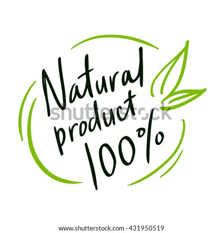 "Round label green stamp ""natural product""."