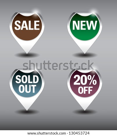 Round Labels or stickers for sale, 20% off, new and sold out items. Eps10 Vector Format.