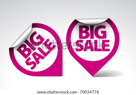 Round Labels / stickers for big sale - purple and white version