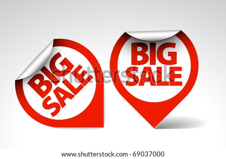 Round Labels / stickers for big sale - red and white version