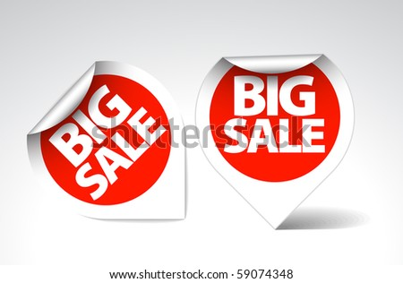 Round Labels / stickers for big sale - red with white border