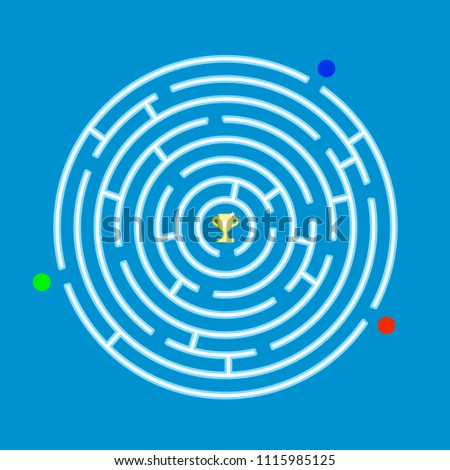 Round labyrinth maze game with 3 players. With Prize in the middle.Vector illustration design.