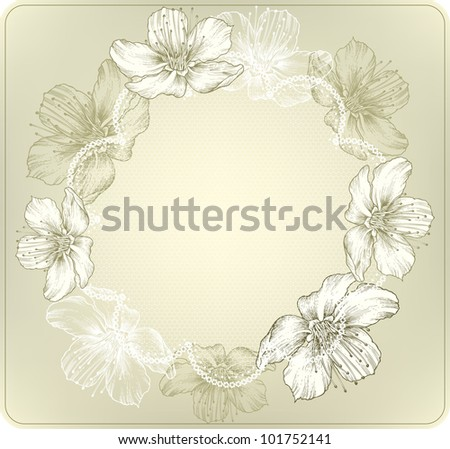 Round lace with blooming flowers, hand-drawing. Vector illustration.