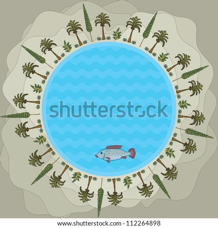 Round Lake in the center of the oasis in the sand dunes of the desert