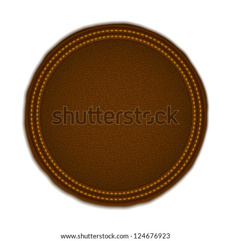 Round leather label, vector eps10 illustration