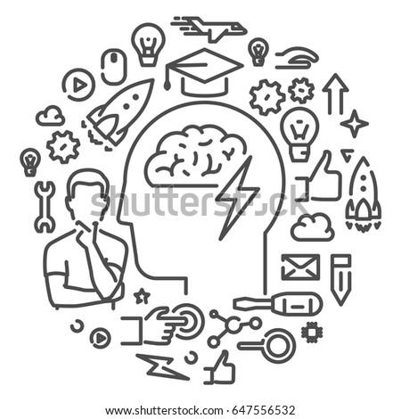 Round line web concept for brainstorm. Modern linear banner for brainstorming.