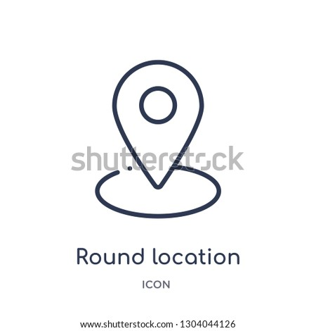 round location indicator icon from user interface outline collection. Thin line round location indicator icon isolated on white background.