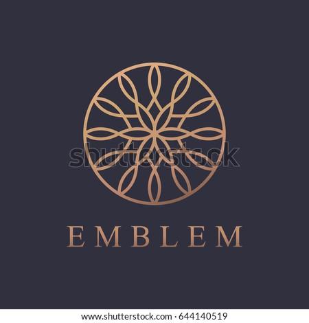Round logo. Business icon. Ornament emblem. Cosmetics, Spa, Beauty salon, Decoration, Boutique logo. Luxury, Business, Royal Jewelry, Hotel, Premium Logo. Interior Icon. Resort and Restaurant Logo.