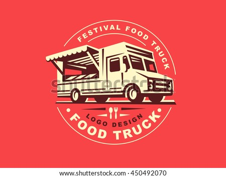 Round logo of food truck, the logos have a retro look - Shutterstock ID 450492070