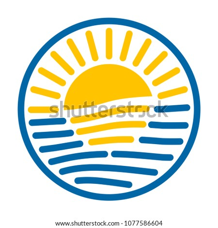 Round logo Sun and sea Sunset or sunrise vector icon