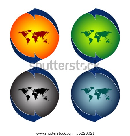 round logos with world map against white background, abstract vector art illustration