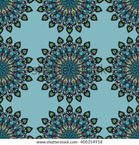 Round mandala seamless pattern. Arabic, Indian, Islamic, Ottoman ornament. Green, red and blue floral pattern, motif. Vector illustration.