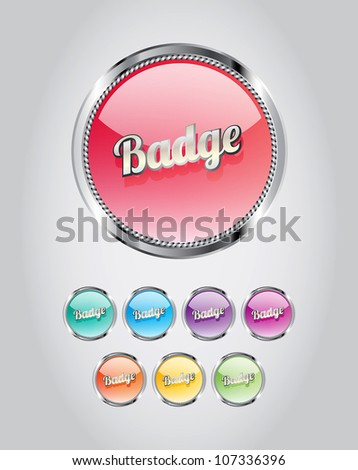 Round metallic glassy badges/buttons collection