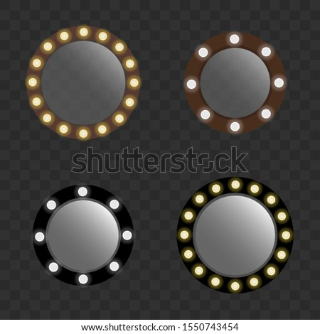 Round mirrors with white and yellow light. Collection of isolated vector glowing frames, portals. Furniture objects for interior, cards, banners, posters, games