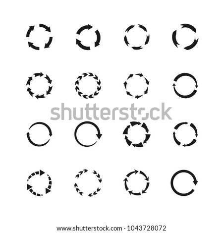 Round motion arrow vector symbols. Circle arrows icons. Round motion arrow symbol, recycling simple and continuity illustration