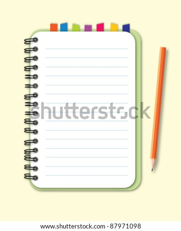 Round notebook with pencil vector