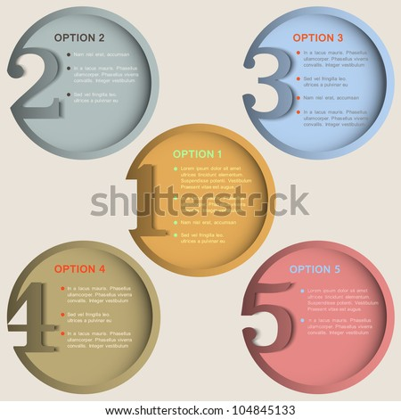 Round numbered banners in retro colors. Creative design template