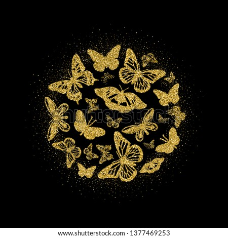 f1397fd889d4d Round of golden glitter butterflies. Beautiful summer yellow gold  silhouettes with glow on black background · butterfly,stylized, vector  illustration ...