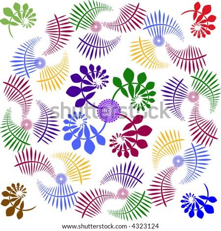Round, organic, wreath-like vector design for corners & borders.