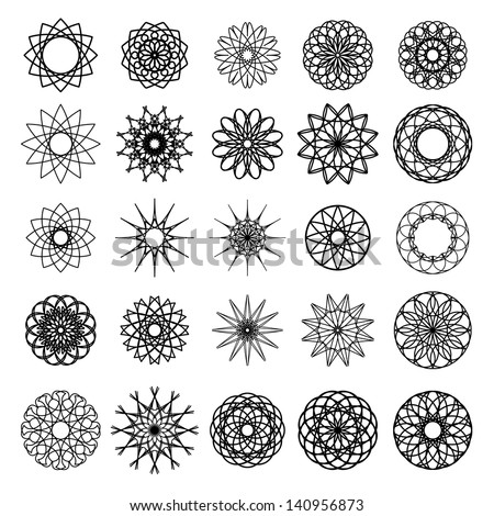 Round ornament set Vector collection