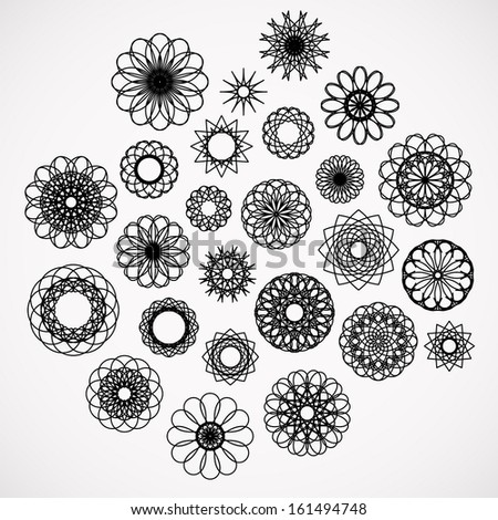 Round ornament set. Vector collection