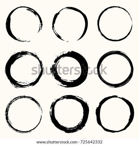 Round paint brush black stroke vector set. Circle black frame painted. Abstract vector design element.