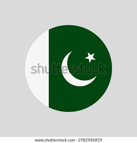 Round Pakistani flag vector icon isolated on white background. The flag of Pakistan in a circle.