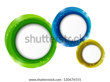 Round paper frames with place for text