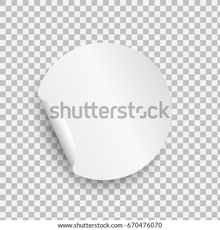 Round paper sticker template with bent edge with shadow isolated on transparent background. Element for advertising, and web design. Beautiful empty white tag. Vector sticker blank #670476070