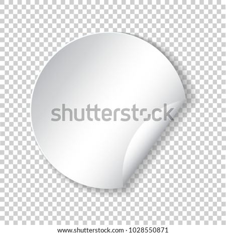 Round paper sticker template with bent edge with translucent shadow. Element for advertising and promotional message isolated on transparent background. Web banner. Vector illustration for your design