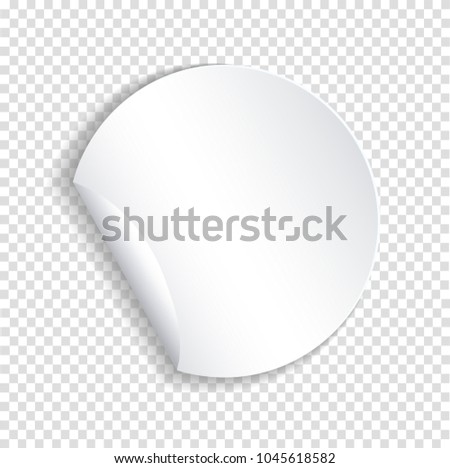 Round paper sticker template with bent edge with translucent shadow. Element for advertising and promotional message isolated on transparent background. Web banner. Vector illustration for your design #1045618582