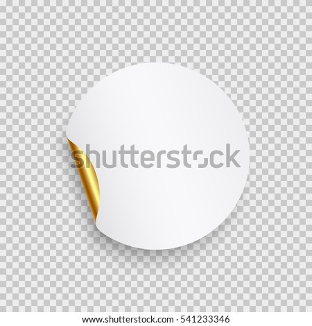 Round paper sticker template with bent edge with translucent shadow. Element for advertising and promotional message isolated on transparent background. Golden vector web banner for your design. #541233346