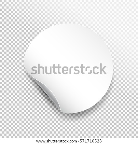 Round paper sticker template with bent edge with translucent shadow. Web banner. Element for advertising and promotional message isolated on transparent background. Vector for your design #571710523