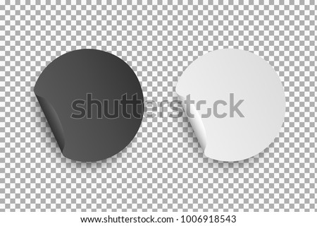 Round paper white and black stickers with bent edge with shadow isolated on transparent background. Element for advertising, and web design #1006918543