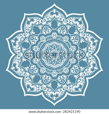 Round Pattern Mandala. Abstract design of Persian- Islamic-Turkish-Ara bic vector circle floral ornamental border!