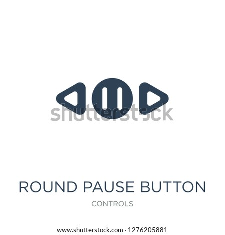 round pause button icon vector on white background, round pause button trendy filled icons from Controls collection, round pause button vector illustration