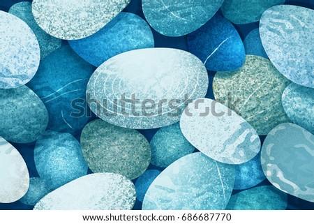 Round pebbles sea underwater background. Ocean bottom. Color vector illustration