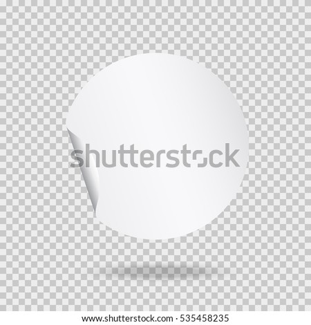 Round peel off paper sticker with shadow. Blank circle web banner or curl label with flip edge isolated on transparent background. Vector white post note for advertising design.  #535458235
