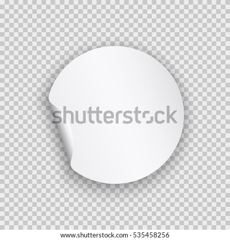 Round peel off paper sticker with shadow. Blank circle web banner or curl label with flip edge isolated on transparent background. Vector white post note for advertising design.  #535458256