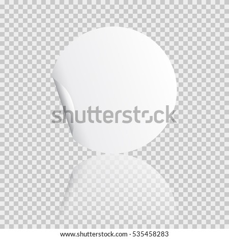 Round peel off paper sticker with shadow. Blank circle web banner or curl label with flip edge isolated on transparent background. Vector white post note for advertising design.  #535458283