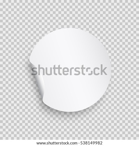 Round peel off paper sticker with shadow. Blank circle web banner or curl label with flip edge isolated on transparent background. Vector white post note for advertising design.
