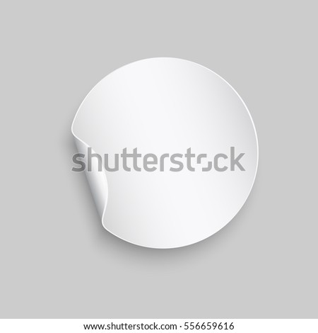 Round peel off paper sticker with shadow. Blank circle web banner or curl label with flip edge isolated on gray background. Vector white post note for advertising design. #556659616
