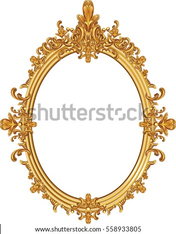 round photo frame, metal gold, interi pattern vector