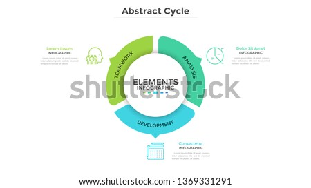 Round pie chart divided into 3 colorful parts with arrows or pointers. Three features of startup project. Minimal infographic design template. Modern vector illustration for website menu interface. Сток-фото ©