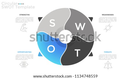 Round pie chart divided into 4 parts and arrows pointing at thin line icons and text boxes. Concept of circular SWOT model. Flat infographic design template. Vector illustration for presentation.