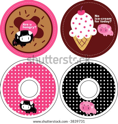 round pig card - stock vector