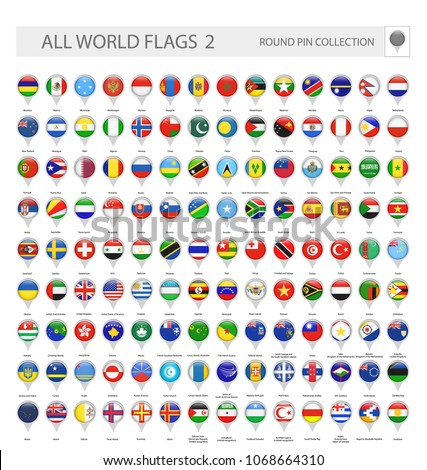 Round Pin Icons of All World Flags. Part 2. All World Flags Vector Collection. #1068664310