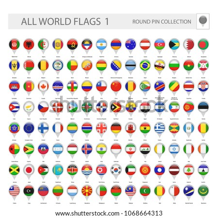 Round Pin Icons of All World Flags. Part 1. All World Flags Vector Collection. #1068664313