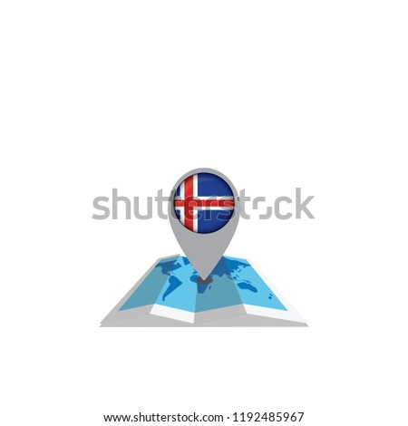 Round pin with flag of Iceland on the map