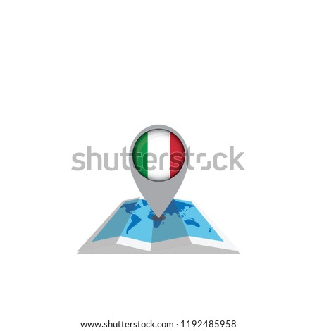 Round pin with flag of Italy on the map